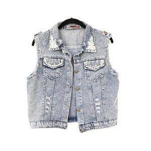 NWOT Distressed Denim Vest Pearl Jacket